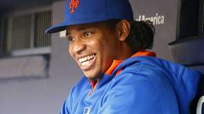 Jenrry Mejia looks on before a game against
