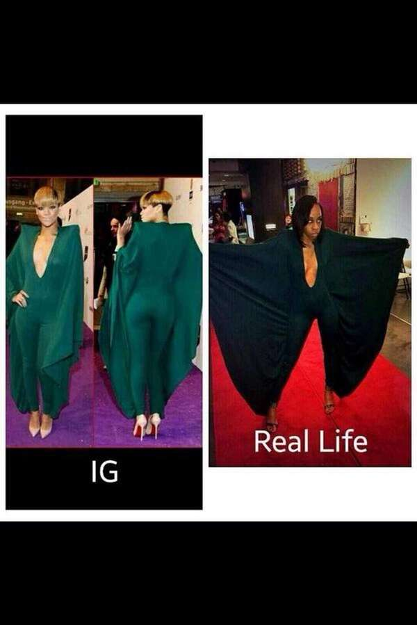 Rihanna compares her winged outfit to a promgoer's.