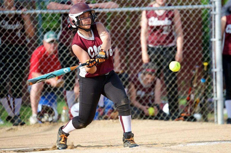 Clarke designated hitter Sabrina Caputo takes a swing