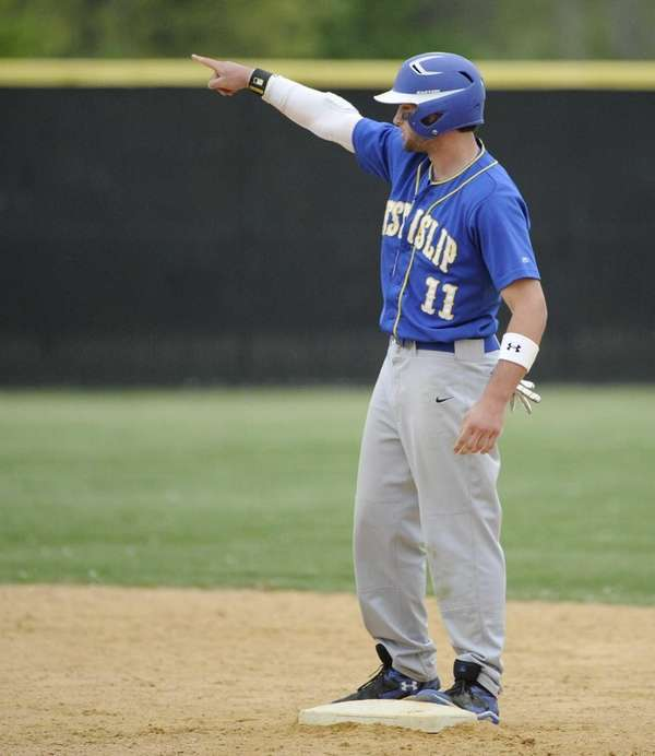 West Islip's Sam Ilario stands on second base
