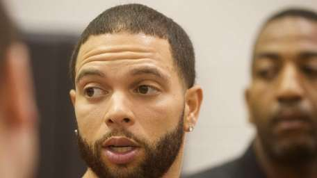 The Nets' Deron Williams appears during a news