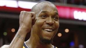 Indiana Pacers forward David West reacts to the