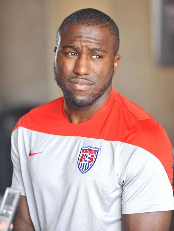 Jozy Altidore speaks to members of the media