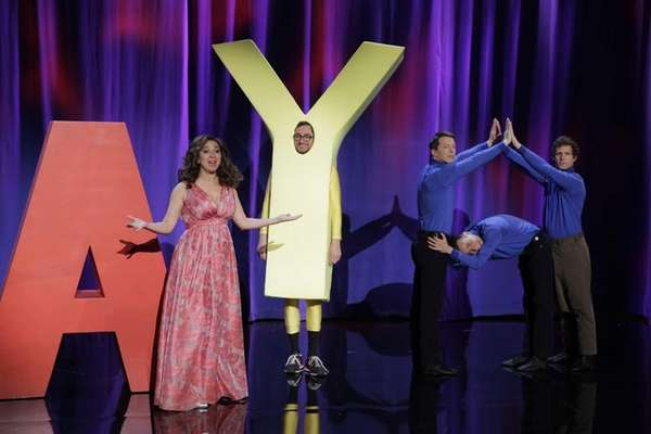 From left, Maya Rudolph, Sean Hayes, Fred Armisen,