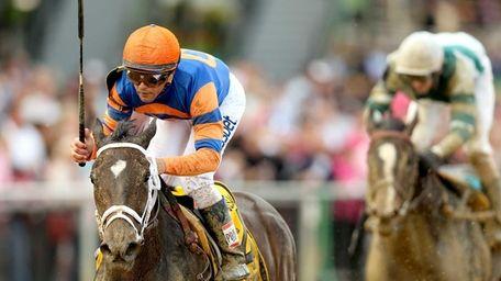 Stopchargingmaria, ridden by Javier Castellano, wins the 90th