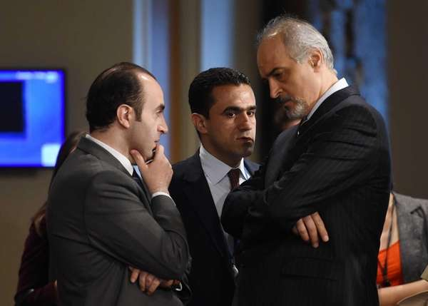 Bashar Jaafari, right, Syria's Ambassador to the United