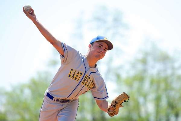 East Meadow pitcher Brian Kavanagh delivers a pitch