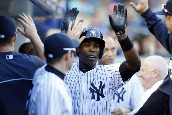 Alfonso Soriano of the Yankees celebrates his seventh