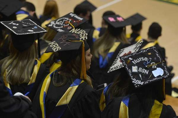 Graduates during commencement rehearsal in Nold Hall at