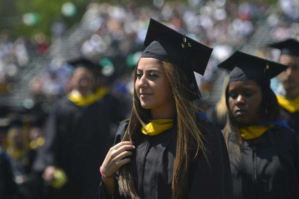 Graduates at Farmingdale State College during commencement on