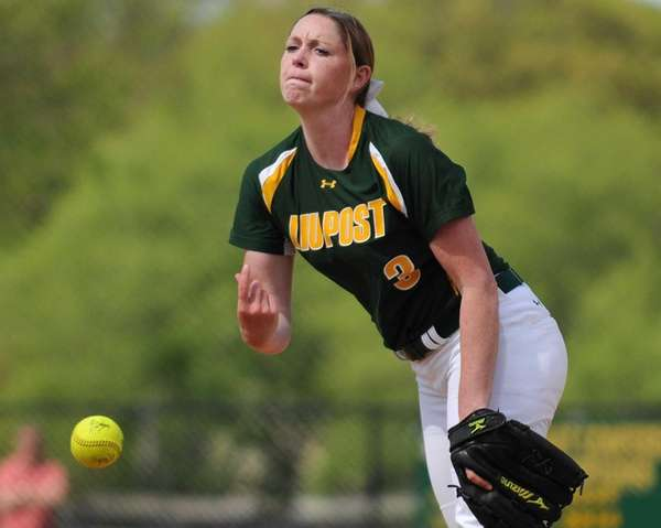 LIU Post pitcher Megan Salcido delivers to the