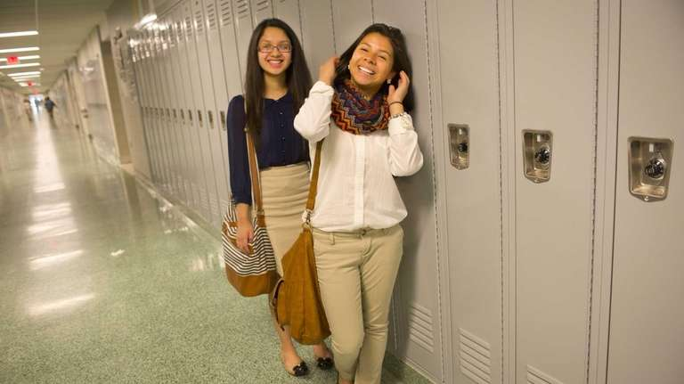 Roosevelt High School Seniors Evelyn Sanchez, left, and