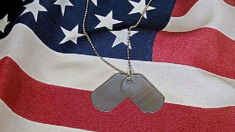 This file photo shows dogtags and an American