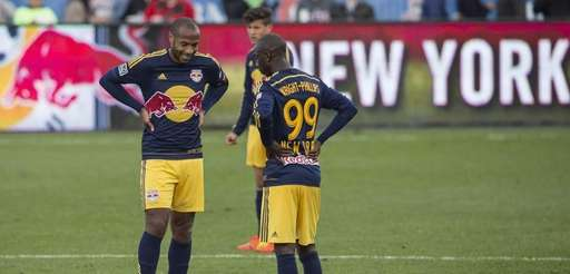 Red Bulls' Thierry Henry, left, and Bradley Wright-Phillips
