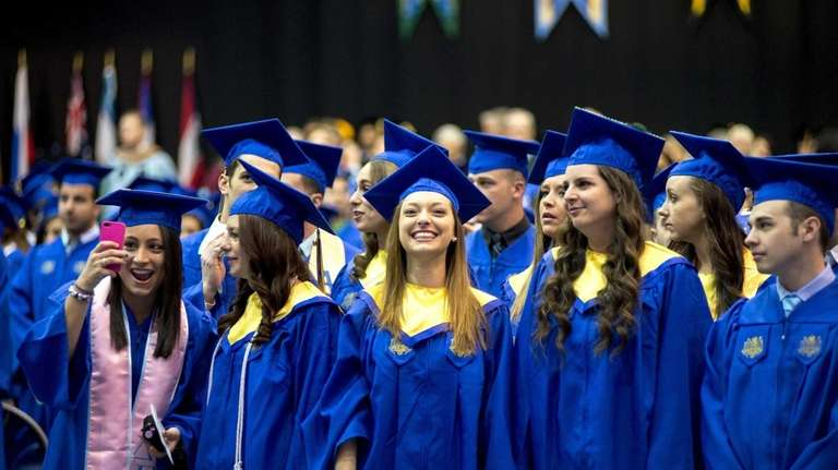 Graduates at Hofstra University in Hempstead during commencement