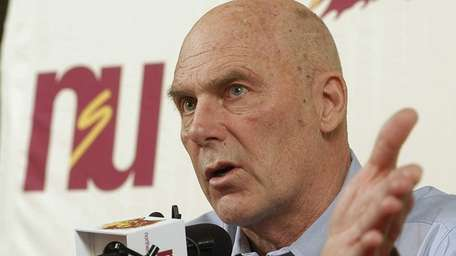 Northern State coach Don Meyer addresses the media