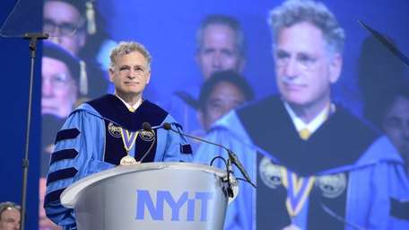 NYIT president Edward Guiliano delivers the commencement speech