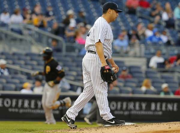 Vidal Nuno of the Yankees reacts after giving