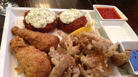 A vegan appetizer trio of oyster mushroom