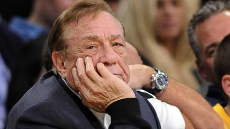 Los Angeles Clippers owner Donald Sterling looks on