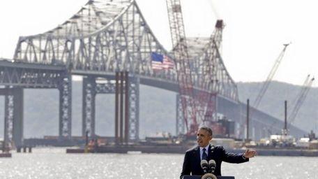 President Barack Obama speaks near the base of