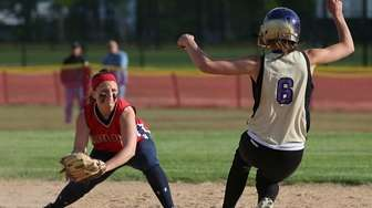 Miller Place shortstop Tori Carlo puts the tag