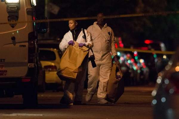 NYPD investigate the scene and collect evidence after