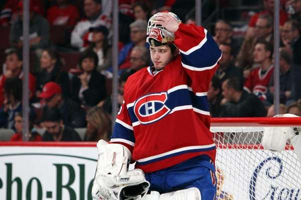 Dustin Tokarski #35 of the Montreal Canadiens reacts