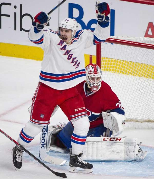 The Rangers' Chris Kreider celebrates a goal by