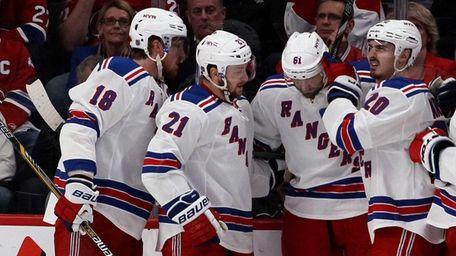 Rick Nash #61 of the Rangers celebrates with