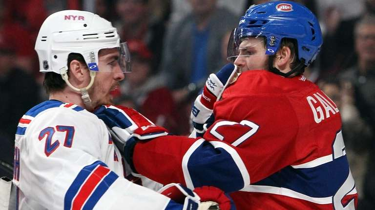 Ryan McDonagh of the Rangers fights Alex Galchenyuk