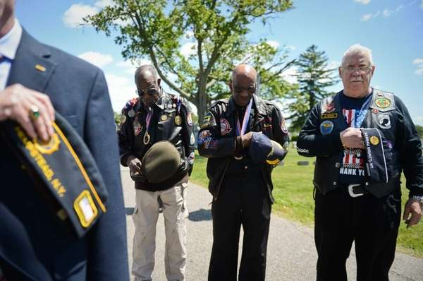 Tuskeegee Airmen Julius Freeman, left, William Thomas Jr.