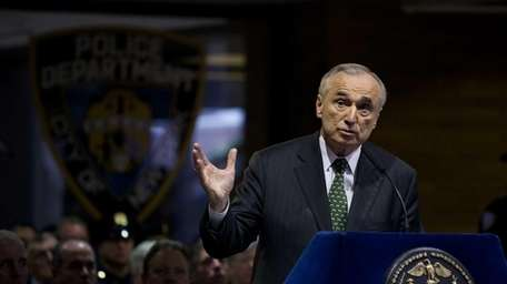 NYPD Commissioner William Bratton addresses family members of