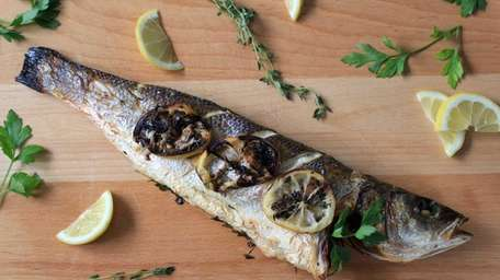 Bronzino is filled with fresh herbs and a
