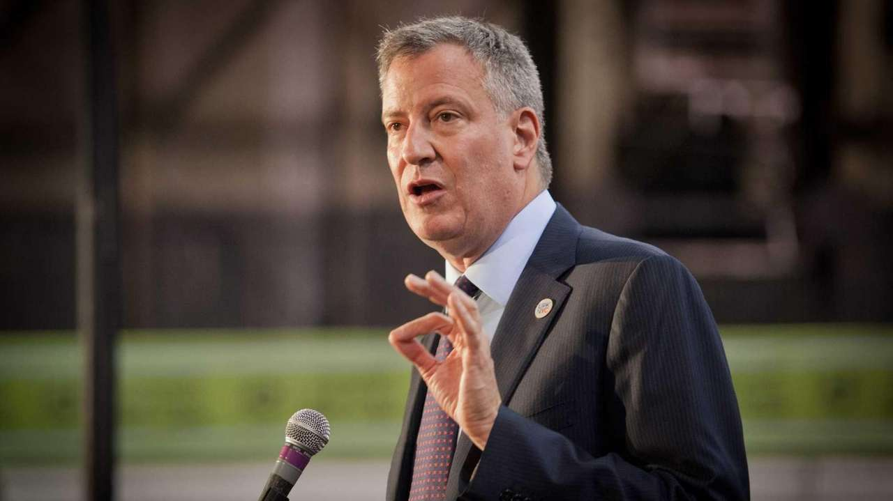 Mayor Bill de Blasio speaks at the New