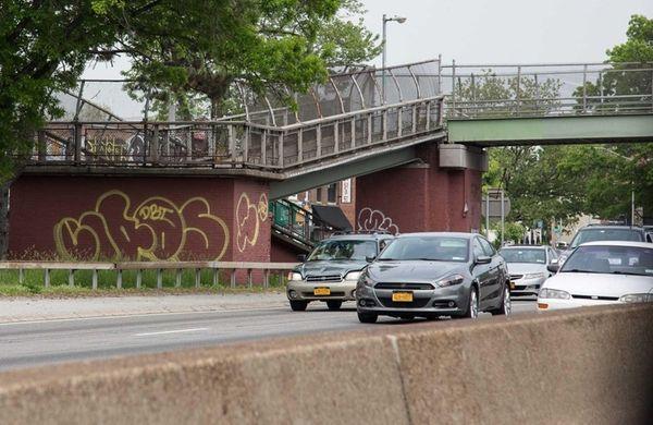 Graffiti can be seen along the Long Island