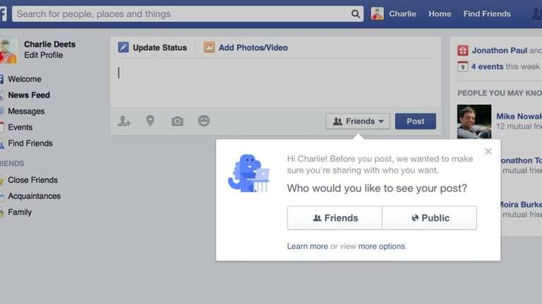 Facebook has set its sharing default for new