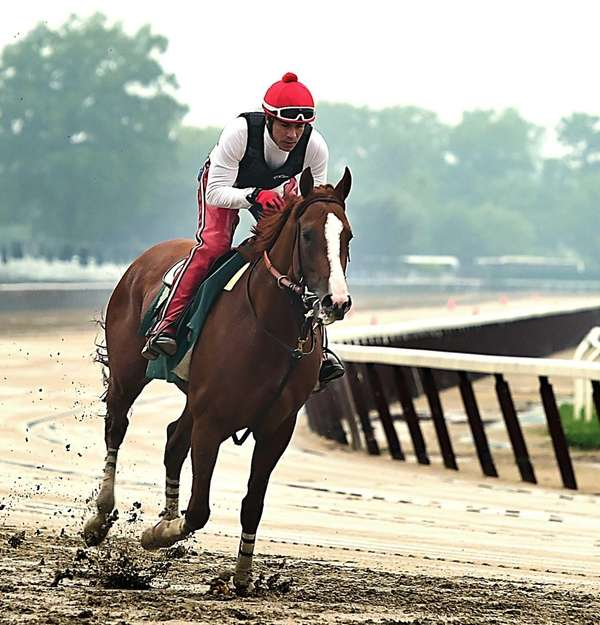 Exercise rider Willie Delgado taking Kentucky Derby and