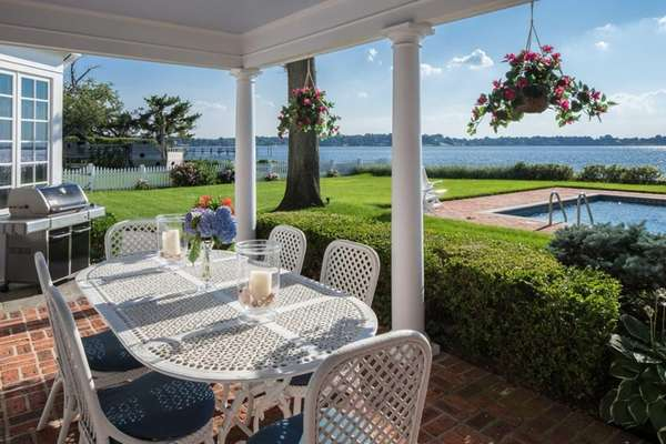The six-bedroom Sands Point Colonial features water views