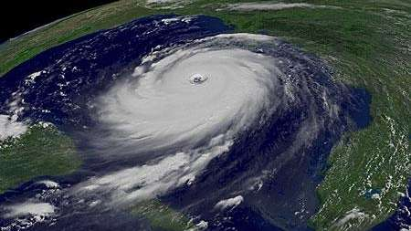 An undated satellite image shows a hurricane in