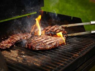 Butcher Lou Kreitzman grills hanger, rib-eye and porterhouse