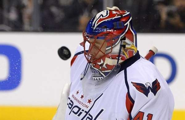 Washington Capitals goalie Jaroslav Halak deflects a shot