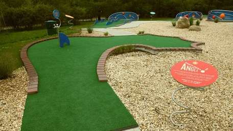 The outdoor, nine-hole miniature golf course at the