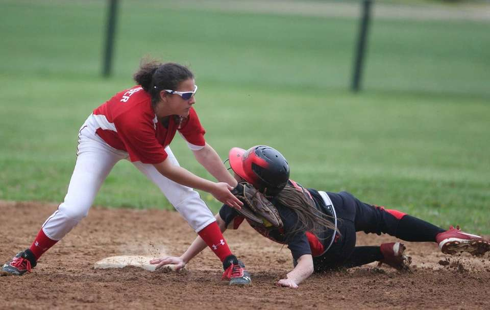 Sachem East's Kathryn Sullivan gets caught stealing second