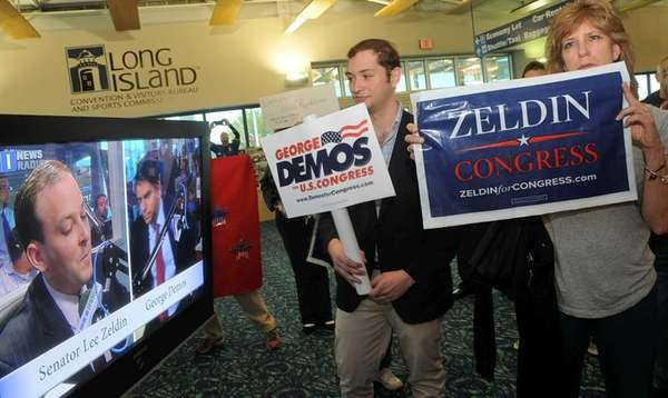 From left, Congressional candidates Lee Zeldin and George