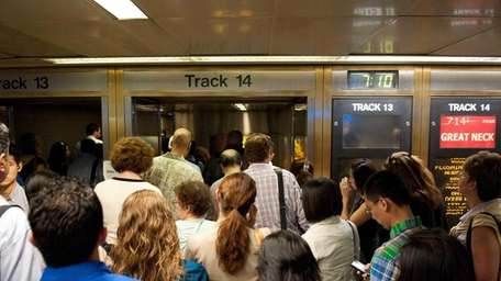 Passengers on the 7:14 p.m. LIRR train to