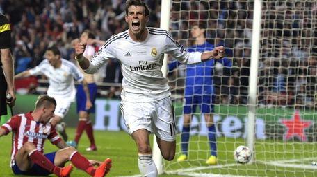 Real Madrid's Gareth Bale celebrates after scoring his