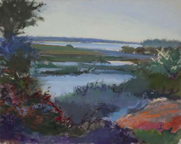 """Marshes,"" a 1983 oil on linen painting, is"