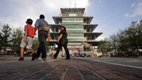 Fans arrive for the Indianapolis 500 at the