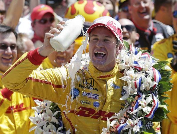 Ryan Hunter-Reay celebrates winning the Indianapolis 500 IndyCar